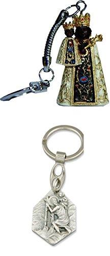 Unbekannt Heiligenfigur Schwarze Madonna Schlüsselanhänger, Höhe 4cm mit Anhänger Heiliger Christophorus
