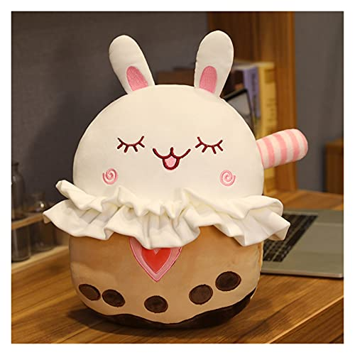 Juguete de peluche Linda burbuja taza taza peluche juguete almohada relleno dinosaurio conejito cerdo oso marrón shiba inu perro muñeco de perro calentador de mano con manta ( Color : Bunny pillow )
