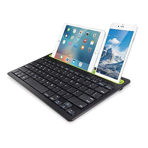 i GEAR DualConnect Wireless Dual Channel Multi Device Bluetooth Keyboard for PC/Mac/Laptop/Smartphone/SmartTv/Tablet (Black)