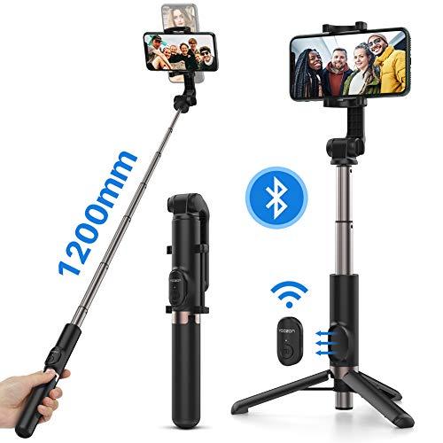 Yoozon Selfie Stick Treppiede Bluetooth,Bastone Selfie Estensibile Lunghezza da 1,2m per Video,Trasmissione,Asta Stick Regolabile e Portatile con Telecomando per iPhone,Samsung,Huawei,ECC