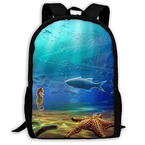 XCNGG 3D Ocean Seahorse Printed Travel Backpack,Waterproof Lightweight Laptopbag Have Two Side Pockets