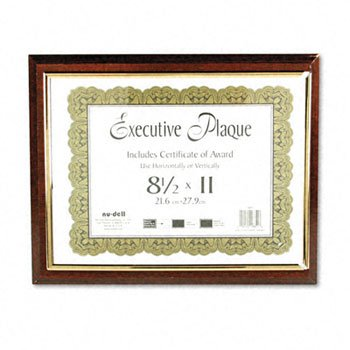 Insertable Executive Award Plaque, 13'X10-1/2', Walnut Qty:4