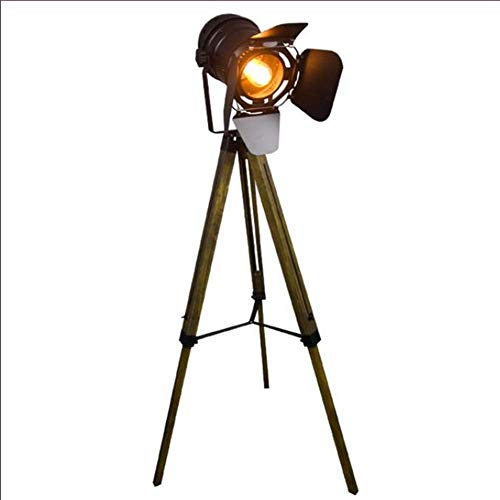 BABYCOW Lámpara de pie, Reflector Retro Industrial Ajustable en Altura E27 de un Solo Cabezal, luz de pie de trípode de Madera Vieja, 150 cm, para Sala de Estar, Dormitorio, Estudio