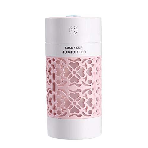 Mini Ultraschall BPA-Free Humidifier, [Verbesserter] Tragbarer Air Raumbefeuchter, mit 7 Farben LED mit 2 Sprühöffnungen, bis zu 4-6 h Stunden Dauerbetrieb, fur Haus Yoga Büro,Rosa