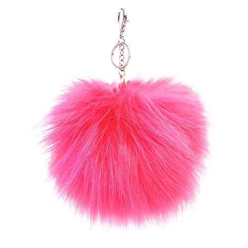 XXL Kunst Fell Bommel Neon Pink Puschel Taschen- Schlüssel Anhänger XB31