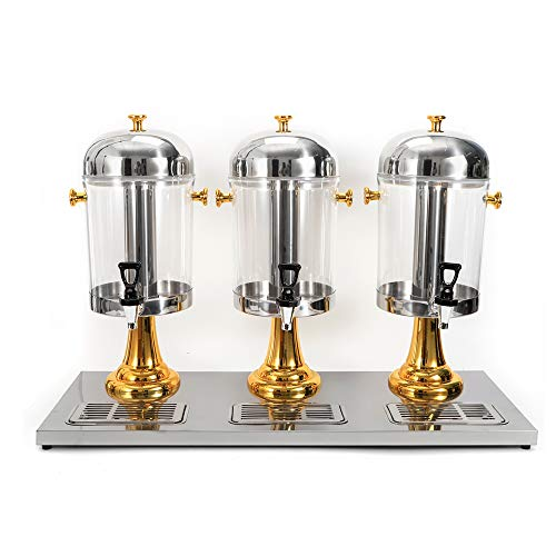 6.3 Gallon 8Lx3 Beverage Dispenser With Ice Container Fruit Infuser Stand Spigot Round Beverage Machine Hot Cold Drink Machine (Gold-Three Canisters)