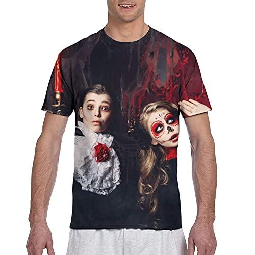 Kteubro Halloween Dos Niños Disfraces Carnaval Scare Athletic Hombres Algodón Performance Camiseta...