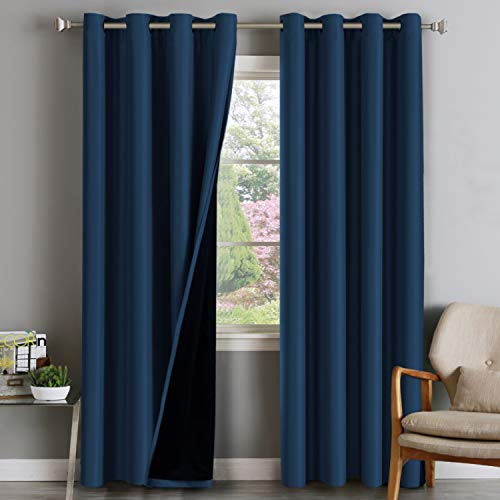 Double Layer 100% Blackout Curtains for Bedroom 96 Inches Long Thermal Insulated Lined Curtains for Living Room | Full Light Blocking Energy Saving Grommet Drapes Draperies, 2 Panels, Navy Blue