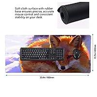 狐 マウスパッド ゲーミングマウスパット デスクマット キーボードパッド 滑り止め 高級感 耐久性が良い デスクマットメ キーボード パッド おしゃれ ゲーム用(90cm*40cm)