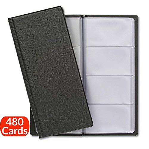 Porte Cartes de Visite pour 480 Cartes avec Intérieur Transparent | Protection des Cartes de Commercial | Idéal comme classeur pour cartes de visite