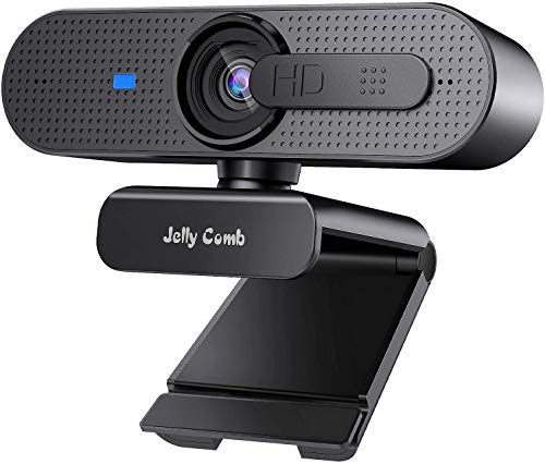1080P Webcam With Privacy Shuttter, Jelly Comb HD Autofocus Webcam, Computer Web Camera With Microphone for Skype, Video Calling, Conferencing, Recording