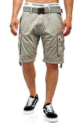 Indicode Herren Abner Cargo Shorts mit 7 Taschen aus 100% Baumwolle   Kurze Hose Sommer Herrenshorts Freizeitshorts Men Short Pants Cargohose Bermuda Sommerhose kurz für Männer Lt Grey XL