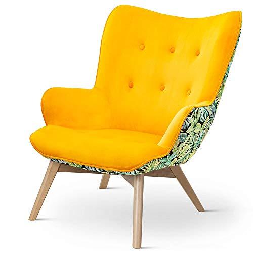 Kolorowy fotel Cherub Botanical plamoodporny (żółty)