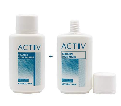 Luttmann GFH ACTIV Pflegeset Echthaar Perücken Collagen Cream Shampoo + Keratin Hair Mask - Extensions Haarverlängerungen Toupets Haarteile Perücken