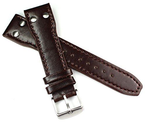Sulla - Cinturino in vera pelle di vitello robusto, 22 mm, colore: Marrone