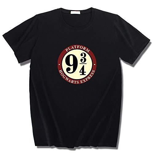 NYLY 2 Pezzi Maglietta da Bambino a Maniche Corte Serie Harry Potter Maglietta Casual 9 & 3/4 L Nero