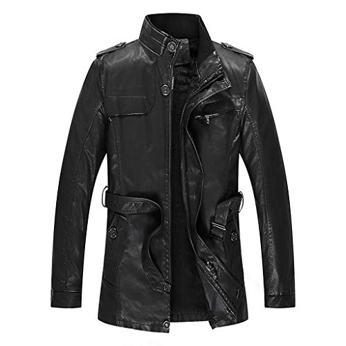 Brizz Leren herfstjas, herfst en winter, windjack, punk-kleding, motorkleding, velveted rits, riem, bloes, eenkleurig kunstleer, dikke mantel, warm, sportkleding, streetwear