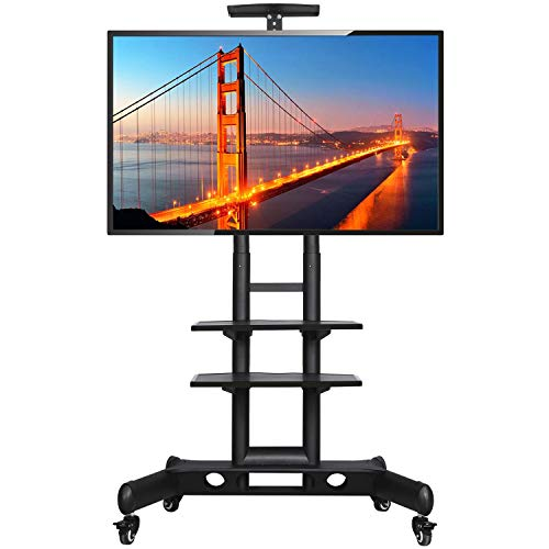 Yaheetech Mobile TV Cart on Wheels for 32 to 65 inch LCD LED Plasma Flat Screen Panel w/Storage Shelves and Heavy Duty Base, Height-Adjustable Rolling TV Stand Holds up to 110 Lbs, Max VESA 600x400mm