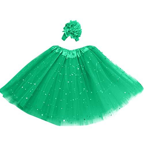 Jupe Bébé, Wyxhkj Petticoat Enfants Jupons étoiles Pettiskirt Bande De Cheveux Tutu Danse Robe Jupe étoiles Tutu Imprimé Jupe Plissée Maille Jupe Costume Vêtements à Manches Courtes (vert)