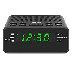 Digital Alarm Clock Radio, Alarm Clocks for Bedrooms with AM/FM Radio, Sleep Timer, Dimmer, Easy Snooze, Battery Backup - 0.6 Green LED Digits