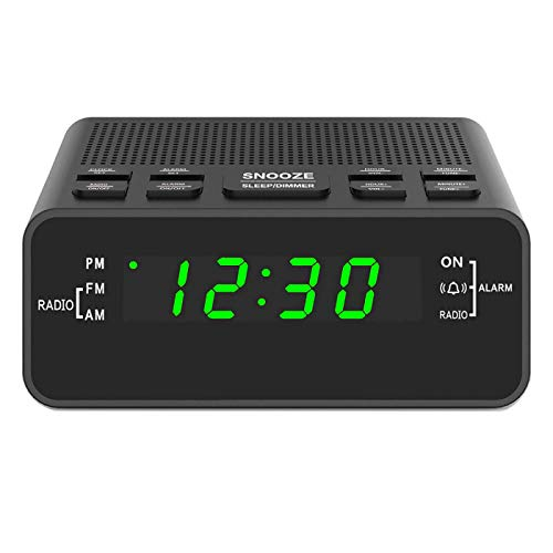 "Digital Alarm Clock Radio, Alarm Clocks for Bedrooms with AM/FM Radio, Sleep Timer, Dimmer and Easy Snooze – 0.6"" Green LED Numbers"