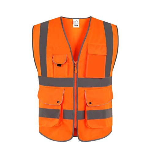 XIAKE Unisex 9 Taschen Warnweste Hohe Sichtbarkeit Weste Reflektierende EN ISO 20471 Standards mit Reißverschluss