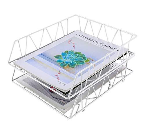 EasyPAG A4-Aktenablage mit 2 Ebenen, stapelbar, für Büro, Schreibtisch, Ordentlicher Aktenhalter, Dokument, Briefpapier, Organizer, weiß
