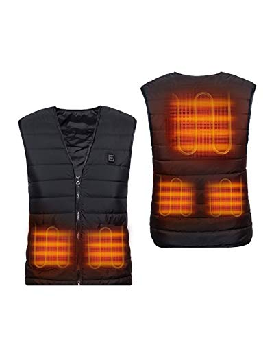 yibang Heated Vest, USB Charging Lightweight Body Warmer, Washable Pad Jacket for Unisex Men Women Teenager Hiking, Hunting, Motorcycle, Camping(Battery Pack Not Included) XL
