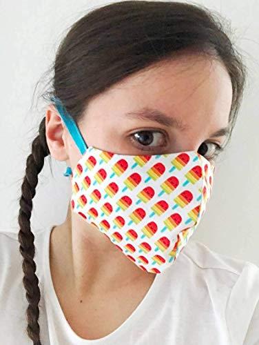 TryPinky® Handmade Mundbedeckung Mund- und Nasen-Maske mit Bindeband waschbar bis 60 °C