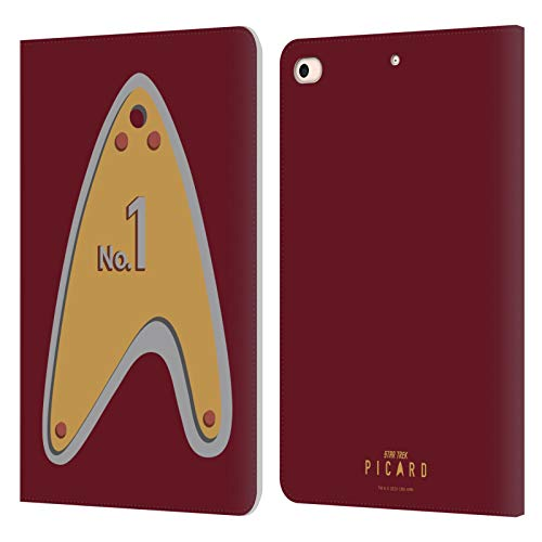 Head Case Designs Oficial Star Trek: Picard Número 1 Insignias Carcasa de Cuero Tipo Libro Compatible con Apple iPad Mini (2019)