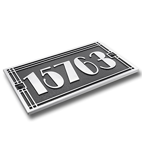 The Metal Foundry Plaque de numéro de maison personnalisée en fonte d'aluminium avec numéro et lettre en option 5 chiffres maximum