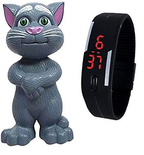 Pappi-Haunt Talking Tom con AI Sensible al Tacto y grabación para niños y Reloj Digital Jelly Slim Unisex Sports Led Band
