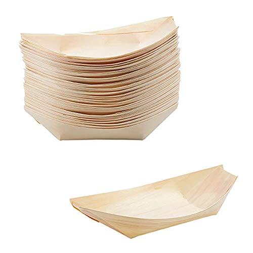 YUIP Platos de Madera en Forma de Barco, Cuenco para Aperitivos (Madera), Vajillas Desechables, Bandejitas Desechables para Aperitivos y Tapas , 50 Unidades (13,5*8cm)