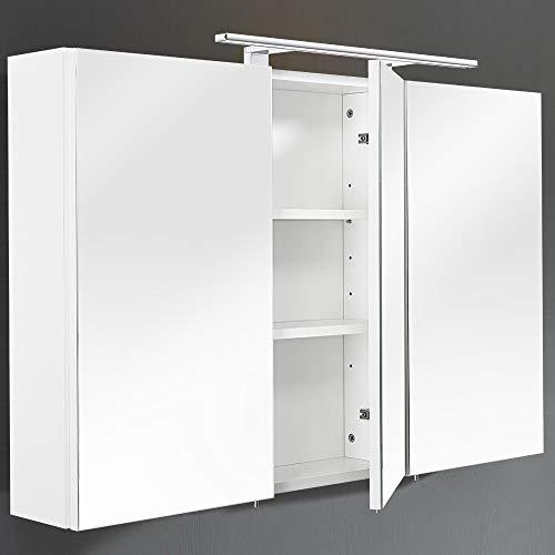 Lomadox Badezimmer 110cm Spiegelschrank weiß & LED-Beleuchtung