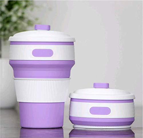 Tasse à Café pliable, 350ml Mug Portative étanche avec Couvercle, sans BPA Silicone,Tasse de Thé Pliable Réutilisable Tasse de Voyage, pour Voyager, Camper, Dehors - Violet