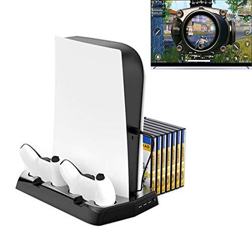 LVGOD PS5 Playstation 5 Soporte Vertical con Ventilaciones De Enfriamiento Incorporadas Consola De Juegos De Edición Digital, Soporte De Montaje En Base, Soporte para Gamepad