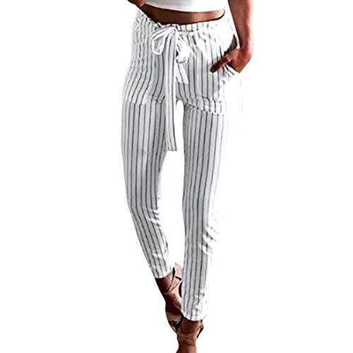 Coolster Damen-beiläufige gestreifte hohe Taillen-Hosen-elastische Taillen-beiläufige Hosen (weiß, M)