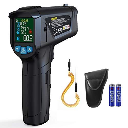 Termómetro infrarrojo, pistola de temperatura láser IR digital sin contacto Curconsa de -50 ~ 800 ℃ con emisividad ajustable, termopar K, para cocinar, asar a la parrilla, automotriz e industrial.
