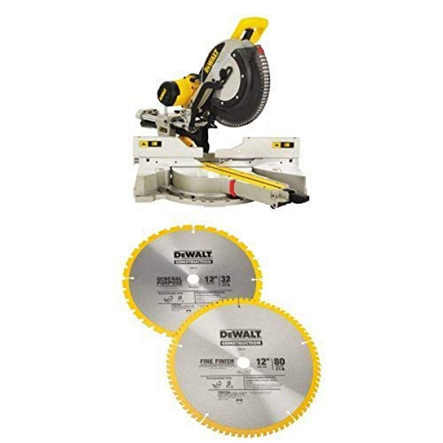 DEWALT DWS780 12-Inch Double Bevel Sliding Compound Miter Saw w/ DW3128P5 80 Tooth and 32T ATB Thin Kerf 12-inch Crosscutting Miter Saw Blade, 2 Pack