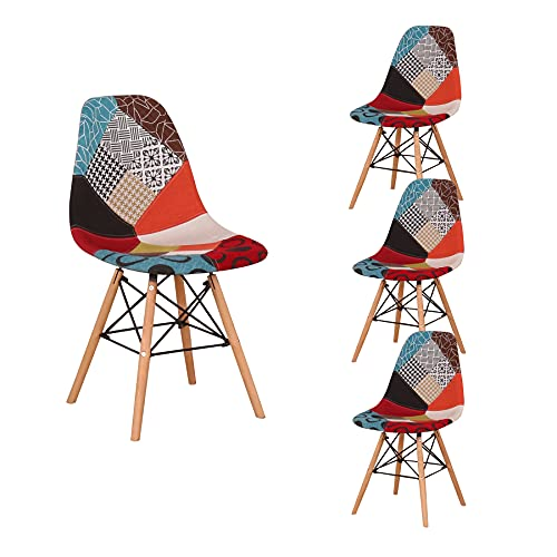 BenyLed Set di 4 sedie da Pranzo Scandinave Patchwork, Sedie Nordiche Imbottite in Tessuto (4pcs-Rosso 02)
