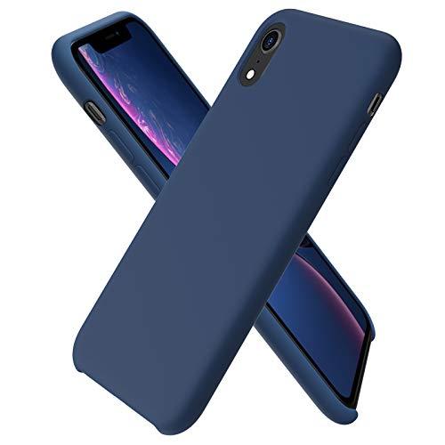 ORNARTO Custodia in Silicone Liquido per iPhone XR, Cover Sottile in Silicone Liquido in Gomma Gel Morbida per iPhone XR (2018) 6,1 Pollici-Deep Navy