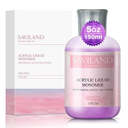 Saviland Acrylic Liquid Monomer - 5 oz Professional Polymer High Capacity Acrylic Nail System for Acrylic Powder Fast Dry Flexible Non-Yellowing