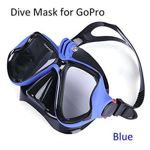 TTZY Professional Underwater Diving Mask Scuba Snorkel Swimming Goggles for GoPro Xiaoyi Sports CameraFull Dry Eyewear,Blue