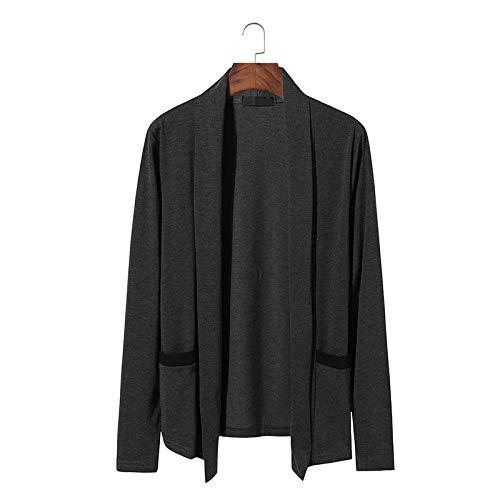 Suéter de Punto sin Botones con Personalidad para Hombre, Chaqueta de Bolsillo de Empalme Informal Simple y cómoda de Manga Larga a la Moda de Manga Larga L
