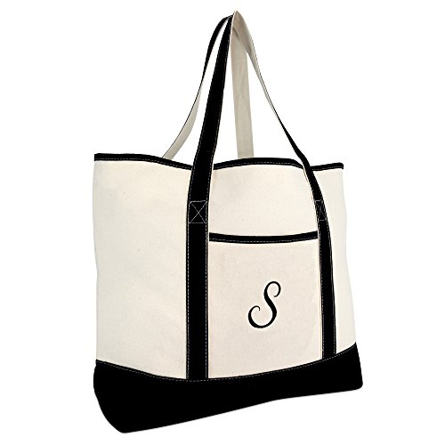 DALIX Monogram Bag Personalized Totes For Women Open Top Black Letter S