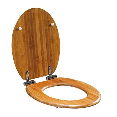 Asiento de inodoro de madera con cierre suave y liberación rápida para una limpieza fácil, fijación superior sencilla, asientos de inodoro estándar con bisagras ajustables, 42,5 x 37 cm