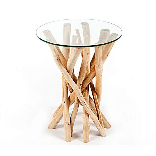 Invicta Interior Design Teakholz Couchtisch Beistelltisch Driftwood mit Glasplatte rund Glastisch Wohnzimmertisch