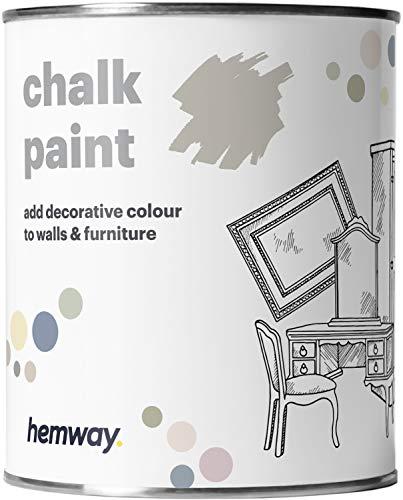 Hemway, pittura a gesso, vernice opaca, pittura per pareti e mobili, 1l, shabby chic, vintage, gessosa, disponibile in 14 colori, grigio