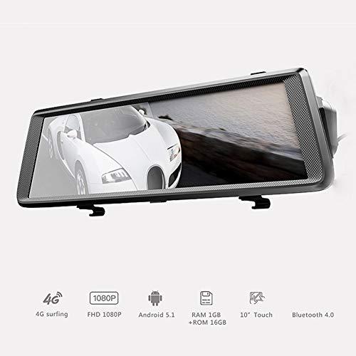 SDRFSWE 10-inch auto-achteruitkijkspiegel, de recorder slagnokken 4G wifi Android GPS-navigator met ADAS-functie-videorecorder rijdt 16GTFCard