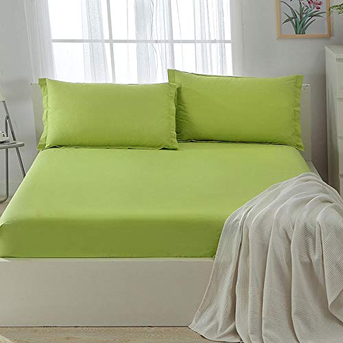 Small Double Sheets Fitted,Polyester Fiber Solid Color Brushed Fitted Sheet, Single Double Non-Slip Mattress Protector Suitable For Hotel-green_200*220+25cm